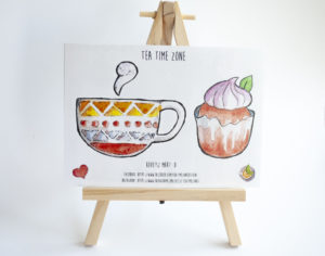 muffin and tea sticker